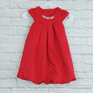 Gymboree | Red Satin Dress with Crystal Detail